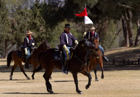 Members of B Troop, 4th U.S. Cavalry, drill at Fort Lowell Park parade ground during the annual Fort Lowell Day Celebration in Tucson, Ariz. Saturday, Feb. 8, 2014. STEVE MARCUS
